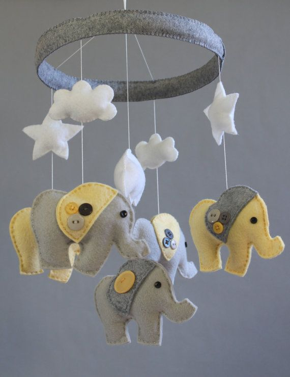 baby crib mobile baby mobile baby elephant mobile gender neutral yellow and gray felt. Black Bedroom Furniture Sets. Home Design Ideas