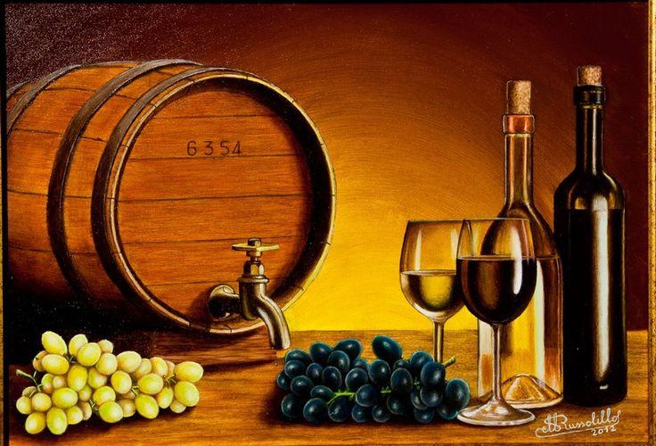Natura morta con botte, uva, bicchieri e bottiglie -  Olio su tela 50 x 40 cm anno 2013