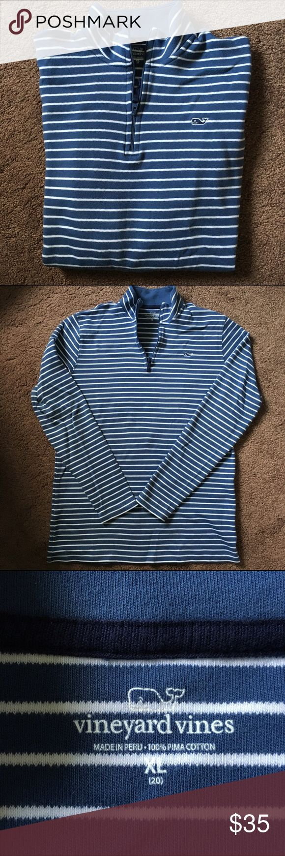Vineyard Vines ¼ Zip Shep Shirt Super comfy, cute, and nautical blue and white striped quarter zip. Never warn. -BOYS XL- Also fits women's XS and S. Very flattering. Vineyard Vines Tops Sweatshirts & Hoodies