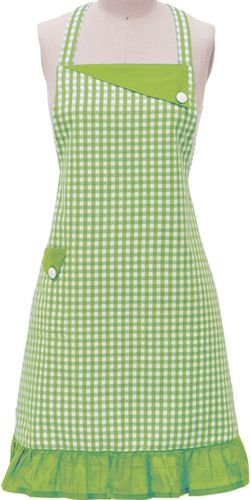 Lime Green Gingham Apron