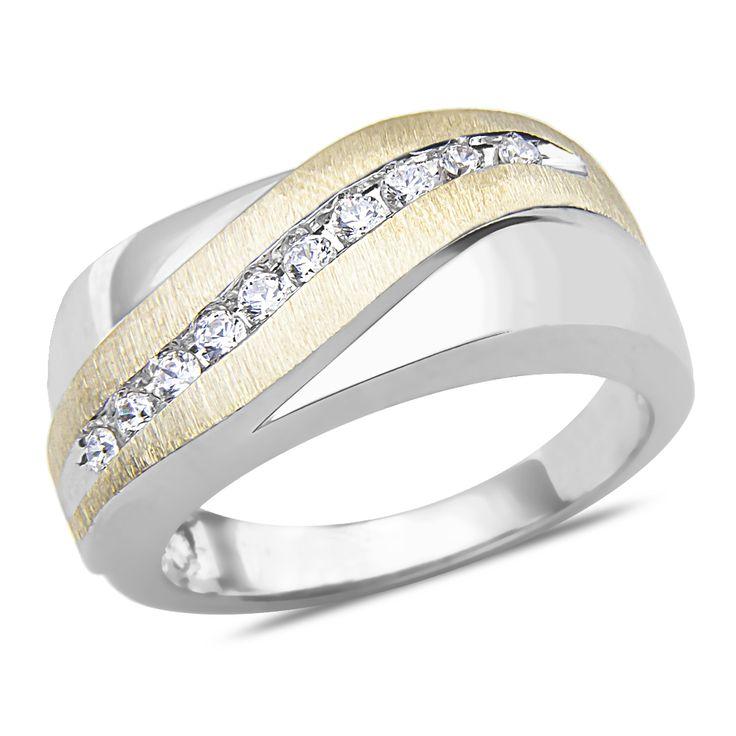 ebay nissonijewelry presents mens 14ct diamond wedding band in 10k two tone gold - Ebay Wedding Rings