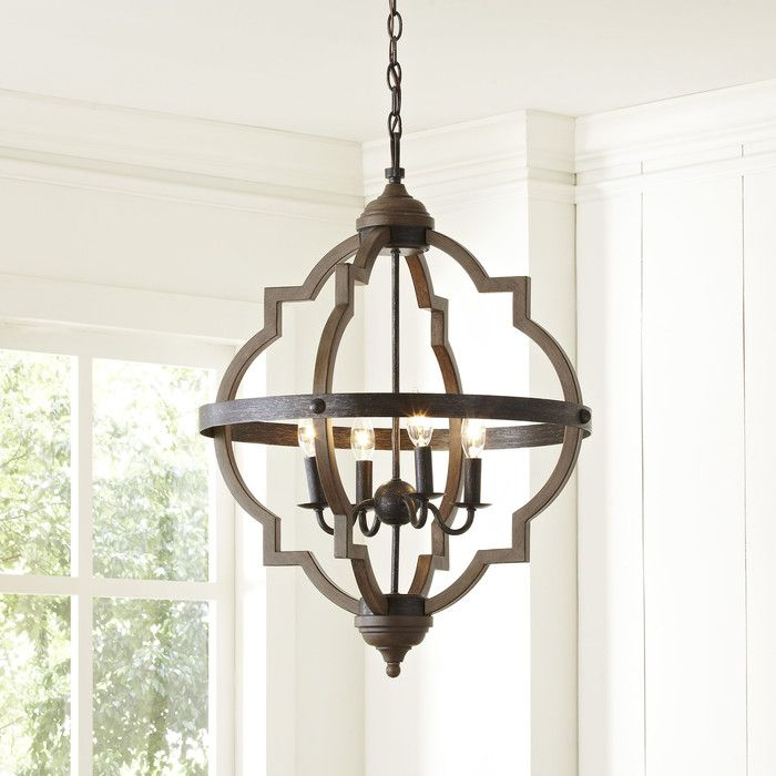 Farmhouse Entryway Chandelier: Bennington 6-Light Candle Style Geometric Chandelier