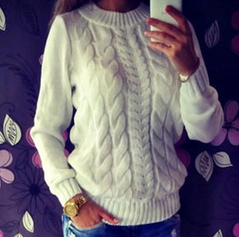 Fall Fashion White Long Sleeve Pullovers Sweater
