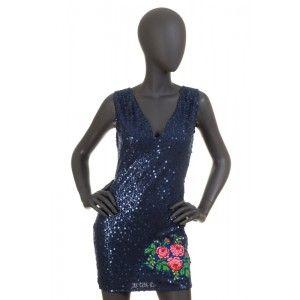 Folk Design - granatowa sukienka cekiny