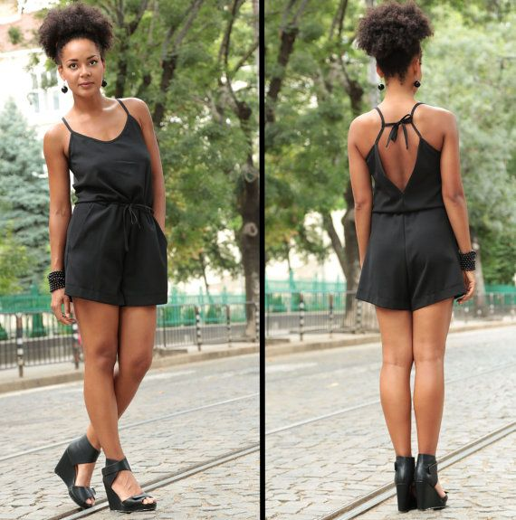 Black Romper, Short Jumpsuit, Boho Jumpsuit, Women Overalls, Black Shorts, Sexy Jumpsuit, Sleeveless Jumpsuit, Short Pants, Sexy Shorts