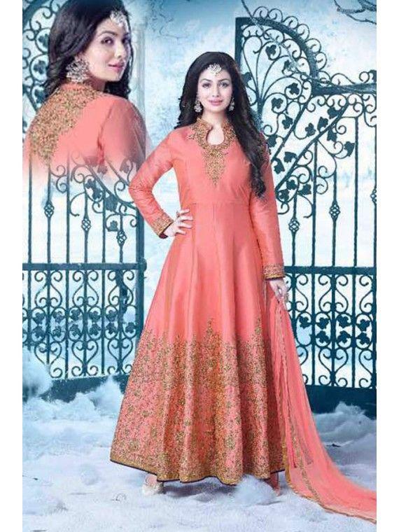 Ravishing Peachy Pink Designer Anarkali Salwar Suit