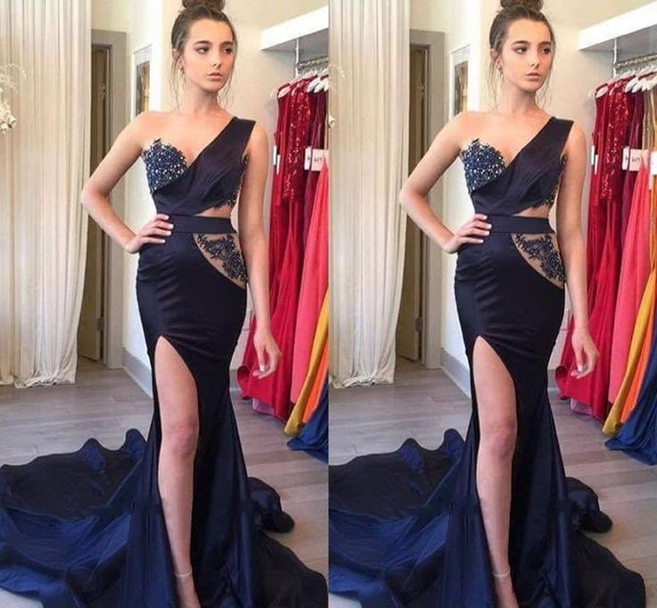 Dark Navy One Shoulder Split Evening Dresses Mermaid Style Long Train 2016 New Lace Bling Formal Prom Party Gowns Special Occasion Wear Backless Evening Dresses Uk Black Evening Maxi Dress From Wanyuweddingdress, $120.61| Dhgate.Com