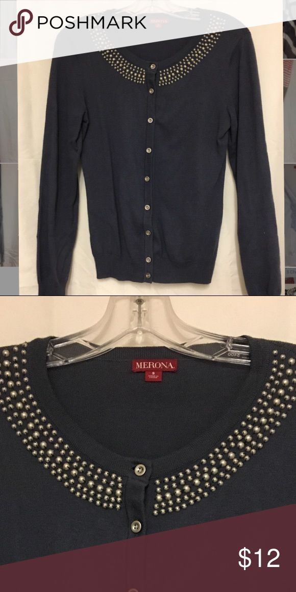 Cardigan Navy long sleeve button down cardigan with matte silver beading along the neckline Merona Tops