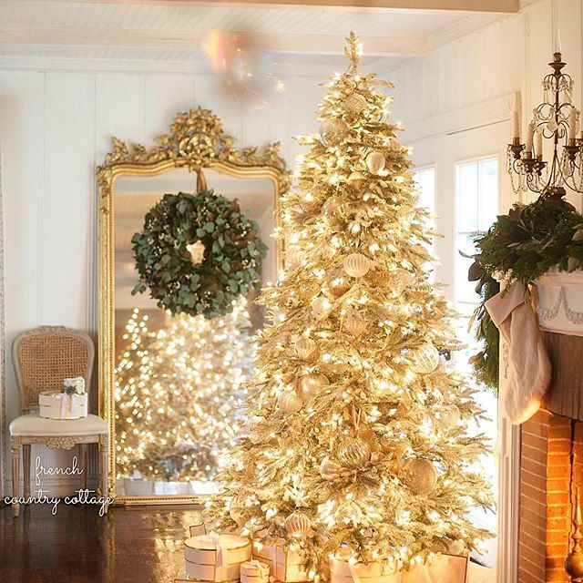 Merry & bright. I shared a peek at our frosted fraser fir  living room tree from Balsam Hill last night- and it is up on my blog today. I'm kind of obsessed with it this year. And it is a frosted tree even though it appears to be a golden beauty in this lighting. :) What do think of it? #christmas #christmastree #merry #twinkle #holiday #wreath #antique #mirror #livingroom #cottage #home #fireplace #glow #french #crystals