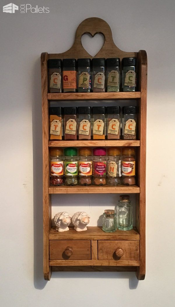 #Kitchen, #RecyclingWoodPallets I made this 2-Drawer Pallet Spice Rack from a combination of 2 pallets. I dismantled pallets and dried the wood out completely. First outside on windy, dry days, and then inside in my boiler cupboard for a few weeks. I did this process to prevent