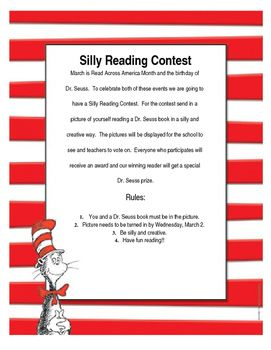 This is a contests that your students can have fun doing while reading. Students are asked to take a unique, creative, silly picture of themselves reading a Dr. Seuss book. It's up to you if you want to include prizes, I tend to find great Dr. Seuss items in Target's bargain aisle.