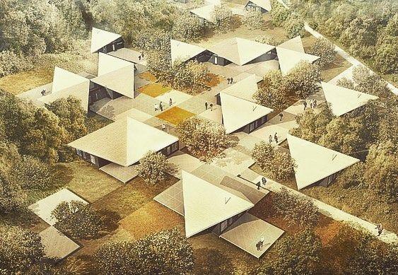 Года два назад разрабатывал арт-резиденцию под Москвой в Калужской области. Крайне сложно было абстрагироваться от коммерческого подхода и создать нечто наивное и простое с точки зрения образа и организации пространства. В итоге получилось что-то похожее на оригами или разбросанные осенние листья. Градостроительный паттерн как бы вплетается в густые заросли создавая полуоткрытые дворы пропуска внутрь себя природное окружение...#amdarchitects by maximbataev