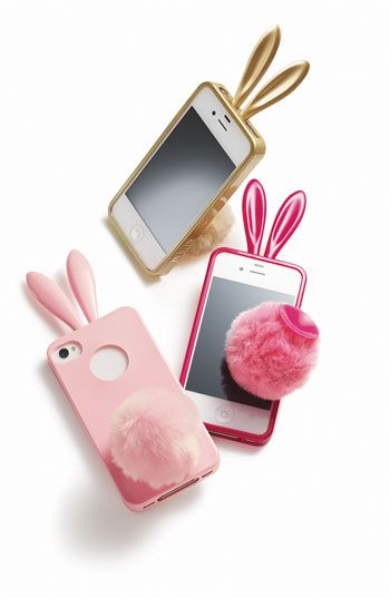 A fun, funky and durable iPhone 4 and 4S cover doubles as a bunny with perky ears and a sassy little tail that can be suctioned to the case to serve as a stand | Rabito iPhone 4 & 4S Case |
