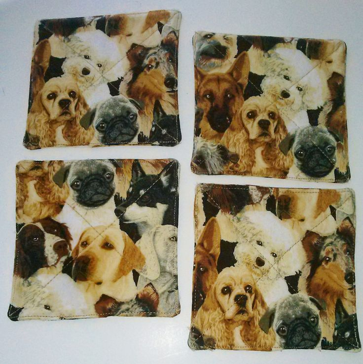 DOG LOVER COASTERS  4  Handmade  100 percent cotton Reversible Variety of Dogs  Free Shipping by QuiltingbyDiamanti on Etsy