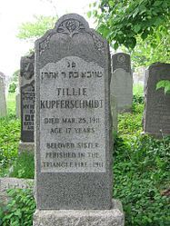 Tombstone of a Triangle Shirtwaist Fire victim at the Hebrew Free Burial Association's Mount Richmond Cemetery.