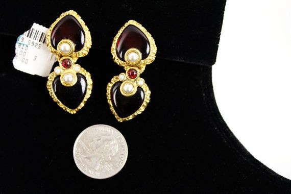 SOLD !  Barrera Pearl & Red Gripoix  Earrings. by Jewelrin on Etsy