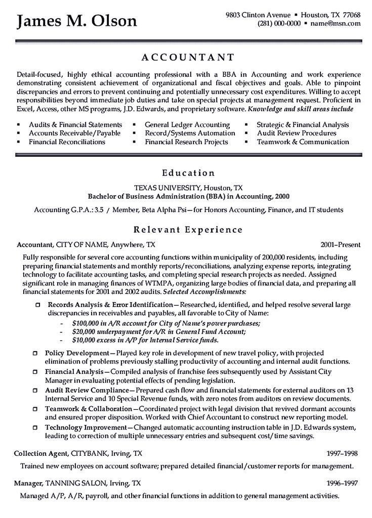 31 best Best Accounting Resume Templates \ Samples images on - cost accountant resume