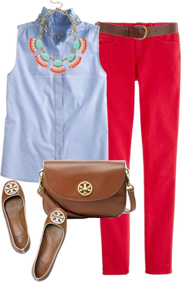 """""""JCrew Chambray Shirt"""" by classically-preppy ❤ liked on Polyvore #preppy #summer outfit #casual ware"""