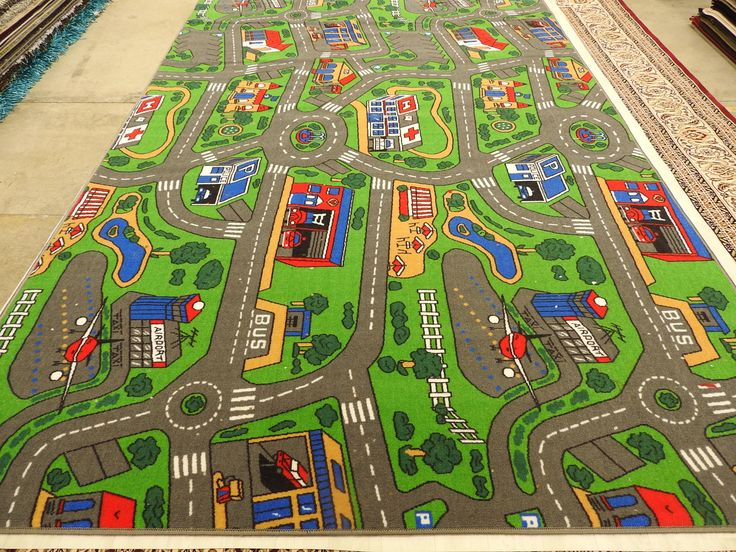 Make your kids room beautiful and attractive with our designer city road mat Size: 200 x 300cm, 100% Nylon. We are offering best deals on kid's product order now.