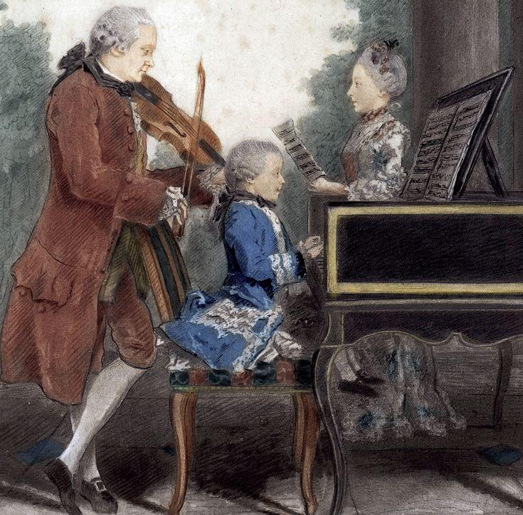 1763-64.Leopold Mozart and his children,Wolfgang and Maria Anna. detail.Louis Carrogis Carmontelle (1717-1806)mine de plomb, sanguine, aquarelle, gouache, papier.Musée Carnavalet