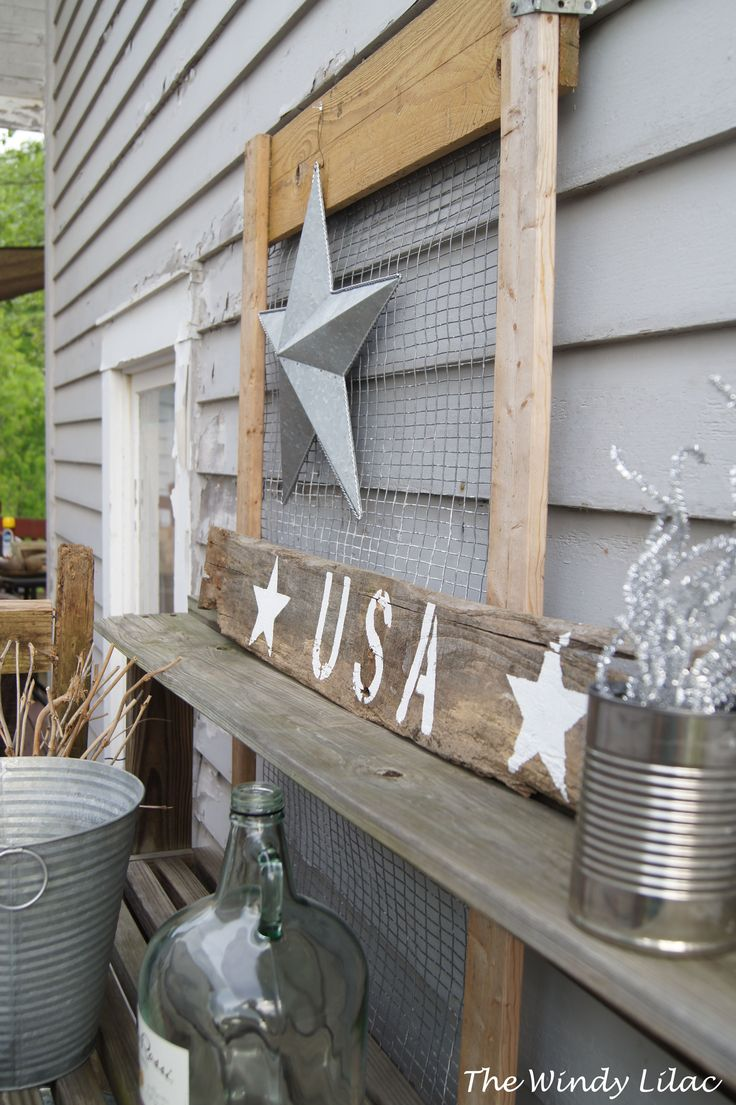 Patriotic Potting Bench Vignette with Easy DIY, USA Pallet Sign, Fun, Outdoor Decorating ideas for summer cook-outs and Parties, Porches, Patios and Decks, Farmhouse, Fixer Upper, Modern Country, Rustic Decor