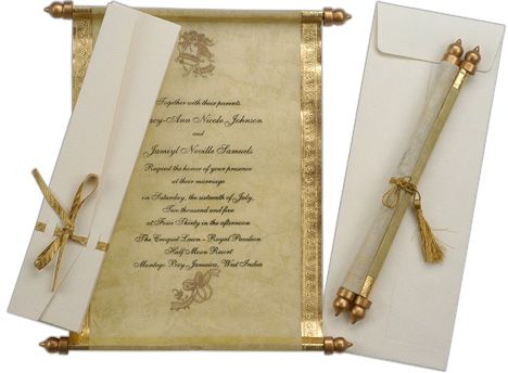 gold fabulous scroll wedding invitations