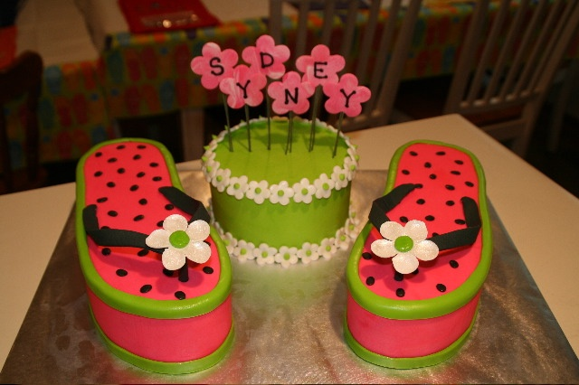 Sydney's Flip Flops - For my daughter's 7th birthday party.  She picked out all flip flop decorations and wanted 'watermellon' flip flops for her cake.