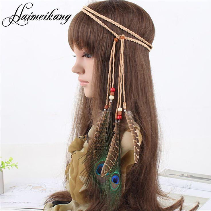 Indian Bead Hair Feather Headband for Women