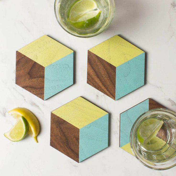 Wooden Coaster Geometric Hexagon Set