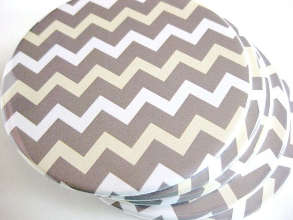 Gray Chevron Home Decor // Chevron Coasters // by MeowKapowShop, $18.00
