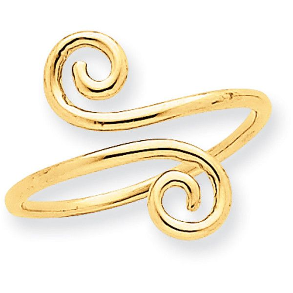 14k Yellow Gold Swirl Toe Ring ($80) ❤ liked on Polyvore featuring jewelry, rings, gold, toe rings, 14k gold ring, 14k gold jewelry, polishing gold jewelry and yellow gold jewelry