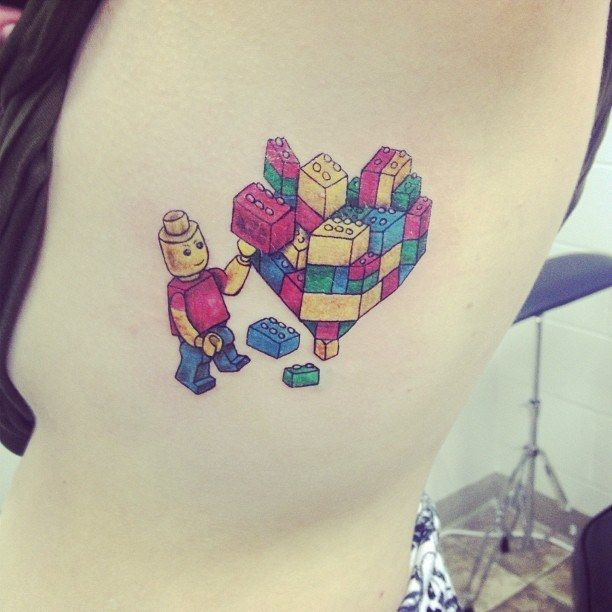 Little blocks of heaven. | 32 Lego Tattoos That Will Thrill Your Inner Child
