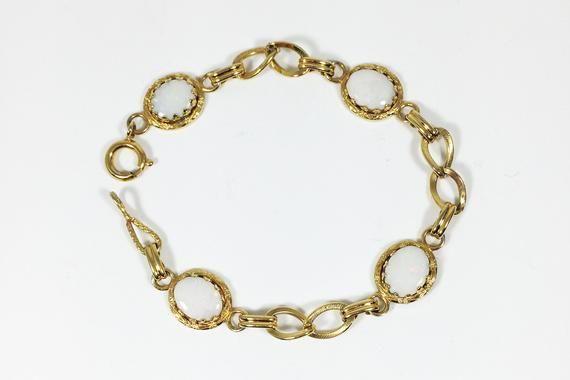 12k Gf Opal Bracelet Vintage 1940s 1950s 12 Karat Gold Filled Art Deco Style Chain Links Iridescent Oval Opal Bracelet Vintage Opal Bracelet Vintage Bracelets