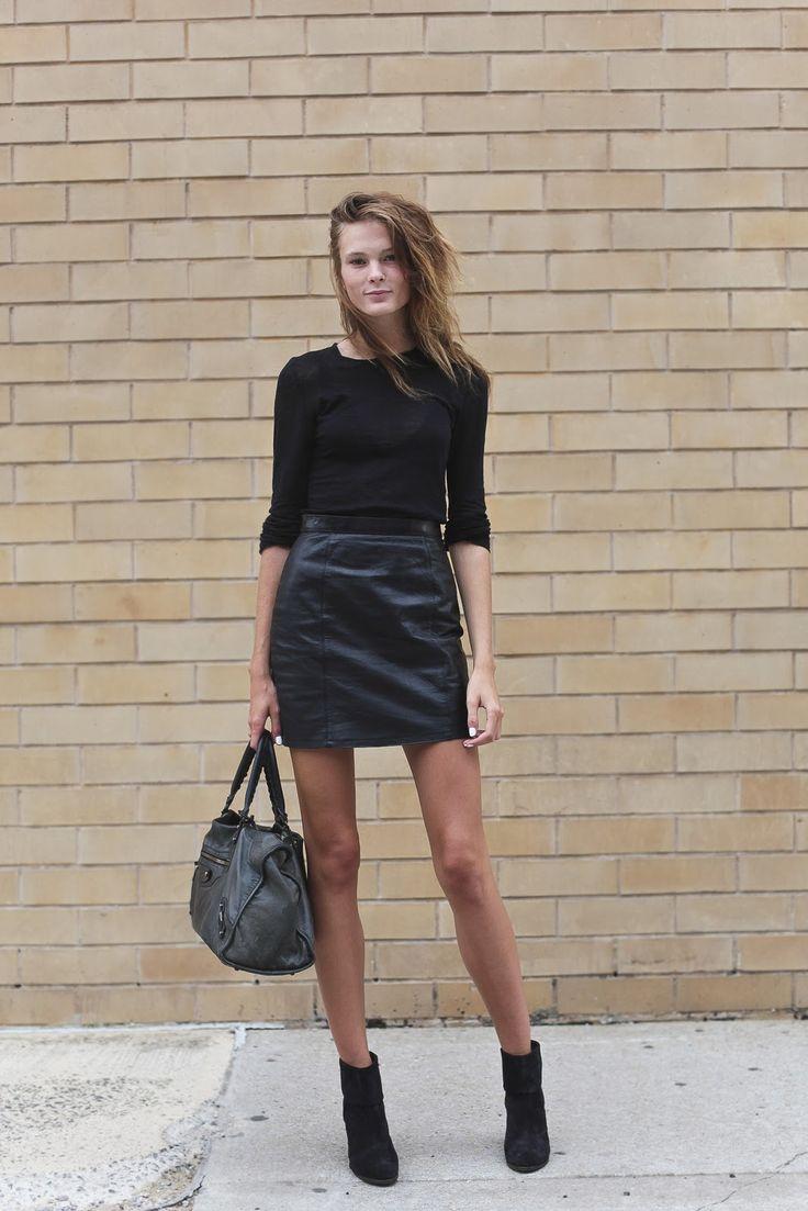 black leather (pictured: Irina Kulikova) #streetstyle #fashion #modeloffduty
