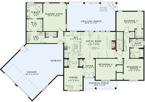 Split Floor Plans With Angled Garage - 60615ND   1st Floor Master Suite, Bonus Room, Butler Walk-in Pantry, CAD Available, Corner Lot, Den-Office-Library-Study, Jack & Jill Bath, Media-Game-Home Theater, PDF, Ranch, Split Bedrooms, Traditional   Architectural Designs