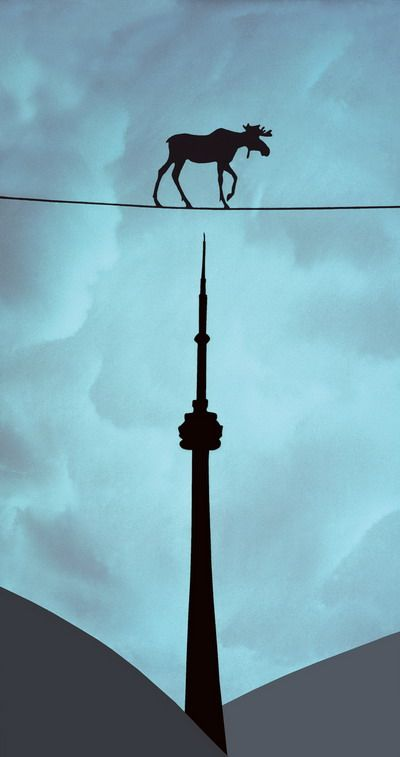 Canadian artist Charles Pachter's quirky take on iconic Canadian imagery - the moose and the Toronto CN tower in this painting called Tightrope. Pachter's career and artwork have been an enduring love-letter to Canada.