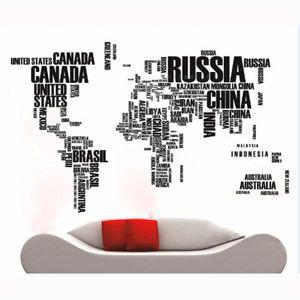 World Map in Words Wall Art Decor Sticker