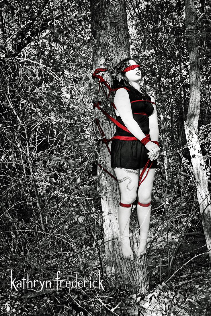 A Lovely Outdoor Rope Bondage Suspension Piece Where The Model Was Vertically Tied To A Tree Rope By Sesset  Rope Harnesses  Suspension -8859