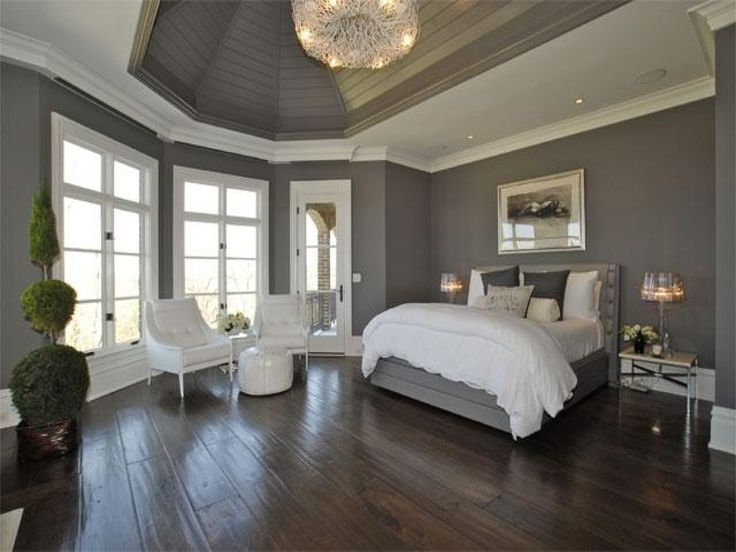Bedroom. Laminate Wooden Flooring Systems With White Bed Sheets: Casual But Modern Gray Modern Style Bedroom Design Ideas. Gray Bedroom Pain...