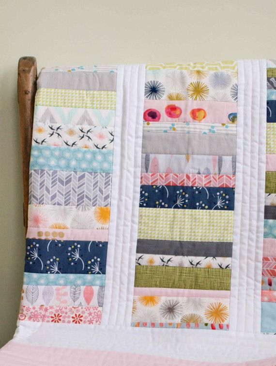 Custom Organic Quilt; PATCHWORK STACKS in Pink, Aqua, Green, Grey; Made to Order custom Crib, Toddler, Throw Quilt by Organic Quilt Company