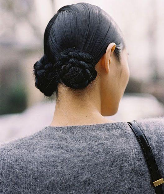 sleek double braided bun