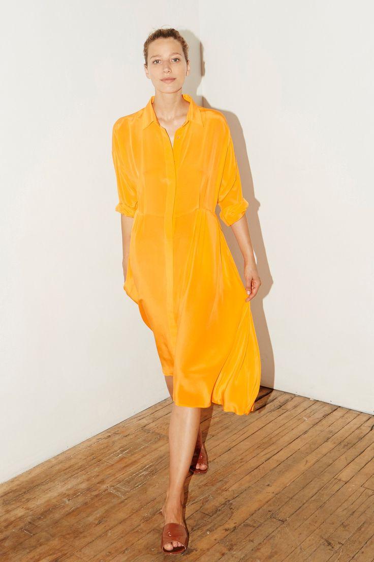 Citric Orange Silk Shirt Long Dress