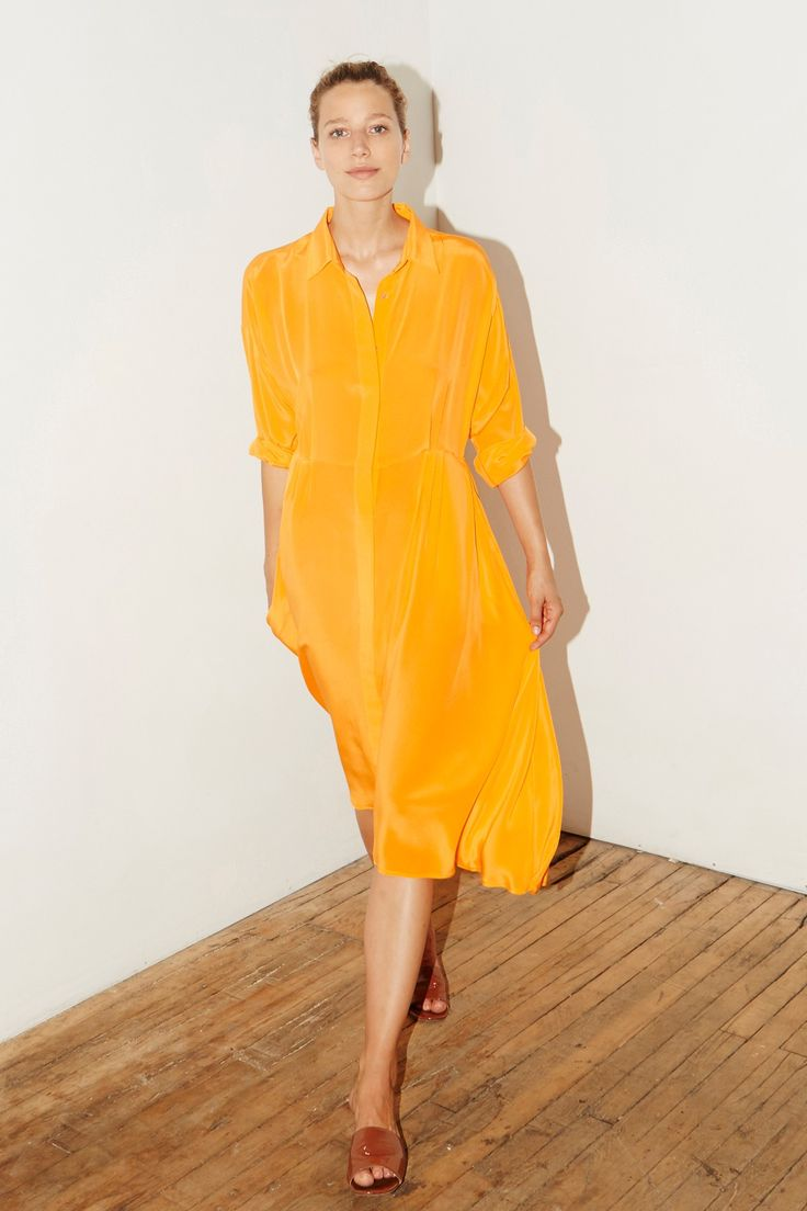 Citric Orange Silk Shirt Long Dress