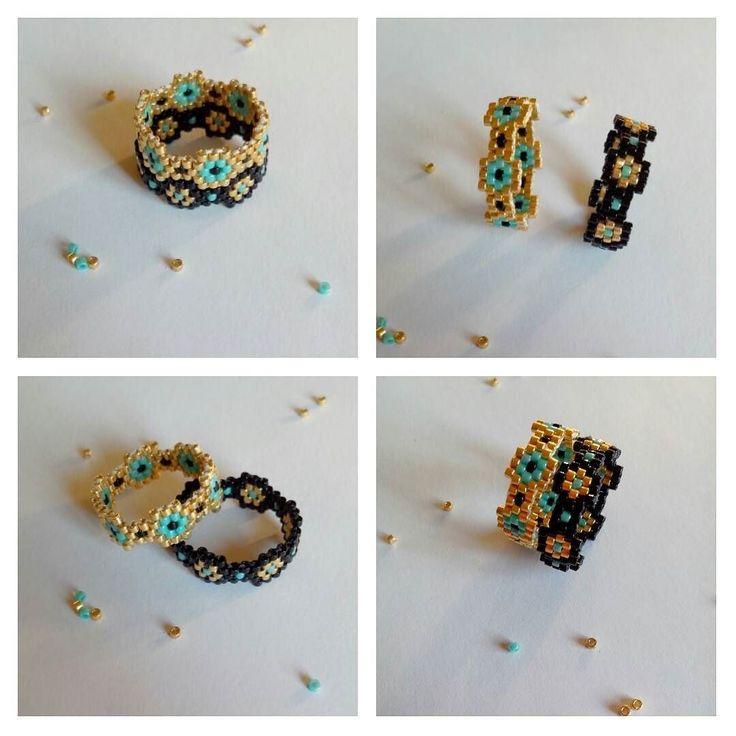 """Bague """"hexa"""" modulable à porter seule ou par deux.. #jmelapetejdonneunnomamabague #miyuki #jenfiledesperlesetjassume #brickstitch #motifliliaime by avis2vies"""