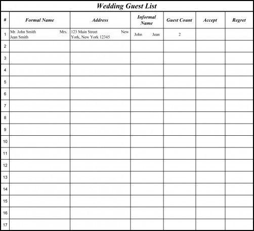 Best 25+ Wedding spreadsheet ideas on Pinterest Wedding budget - printable wedding guest list template