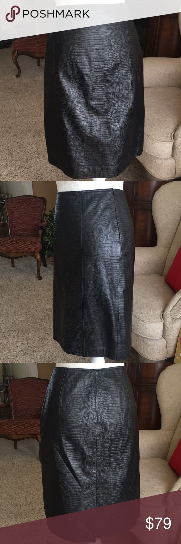 """Ralph Lauren black leather alligator print skirt 100% leather and fully lined straight skirt with back kick pleat. Alligator print throughout dress. Side zipper and button closure. Waist laying flat 15"""" length 21"""" Lauren Ralph Lauren Skirts"""