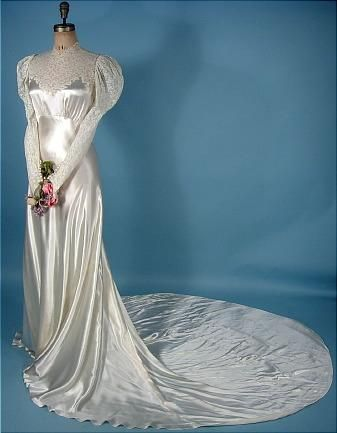 1930's Wedding Gown of Bias White Satin, Trained with Lace Bodice