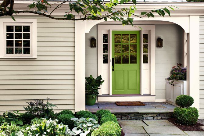 Front door painted in Pantone Color of the Year Greenery
