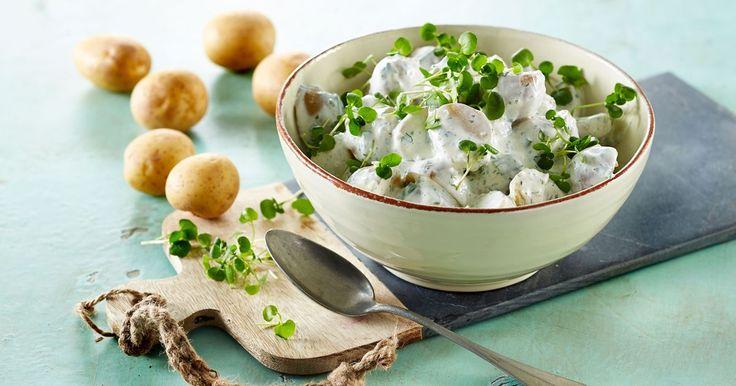 Nem opskrift på en virkelig lækker kartoffelsalat. Denne kolde kartoffelsalat har masser af smag og friske krydderurter. Det perfekte tilbehør.