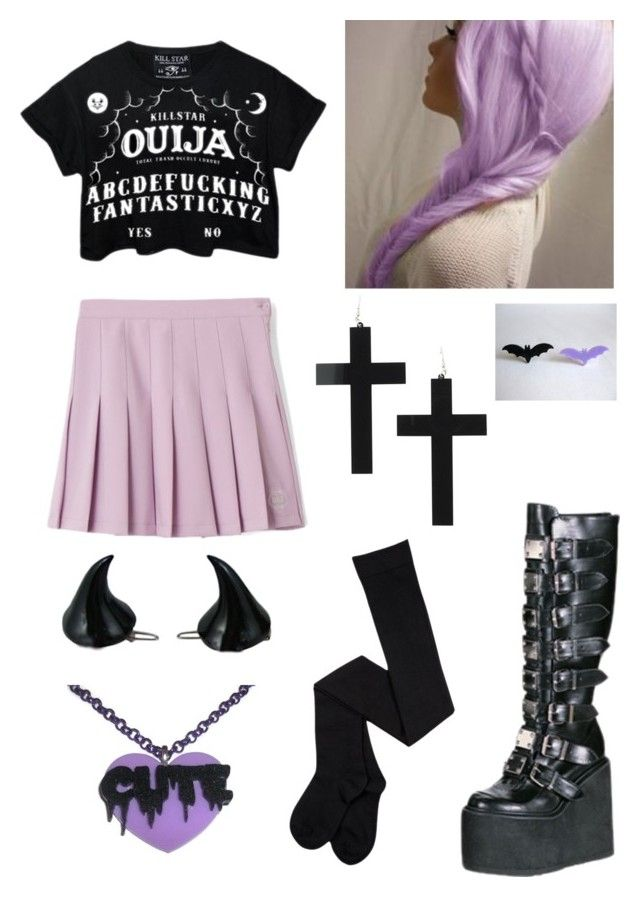 """""""Pastel Goth"""" by pipertehcat ❤ liked on Polyvore featuring Demonia, Kreepsville 666, women's clothing, women's fashion, women, female, woman, misses, juniors and pastelgoth"""